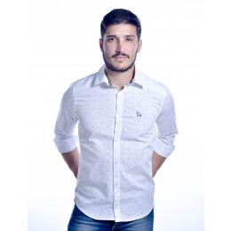 Camisa Atacado Manga Longa com Micro Estampas Masculino Revanche Bréscia 2 Branca Frente
