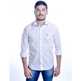 Camisa Atacado Manga Longa com Micro Estampas Masculino Revanche Bréscia Branca Frente