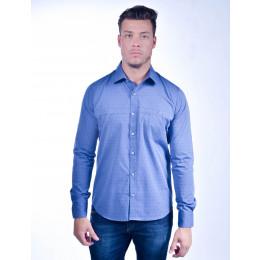 Camisa Atacado Manga Longa com Micro Estampas Masculino Revanche Lima Azul Frente