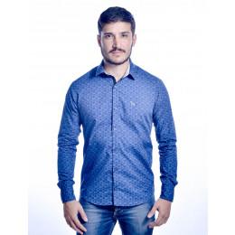 Camisa Atacado Manga Longa de Micro Estampas Masculino Revanche Monza Azul Frente