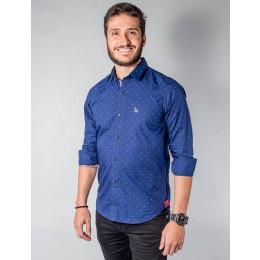 Camisa Atacado Micro Estampas Manga Longa Cadarço na Vista Masculino Revanche Pescara Frente