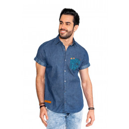 Camisa Jeans Atacado Bolso Estampado Masculina Revanche Cahors Frente
