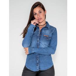 Camisa Jeans Atacado c/ Bolso Feminina Revanche Vílnius Frente