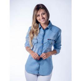 Camisa Jeans Atacado com Bolso Chapado Feminina Revanche Tripóli Frente