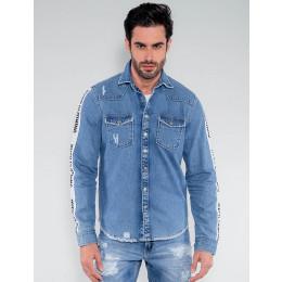 Camisa Jeans Atacado Faixa Masculina Revanche Islândia Frente