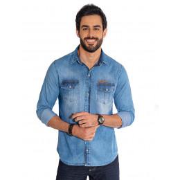 Camisa Jeans Atacado Manga Longa com Bolso e Lapela Masculino Revanche Kingston Frente