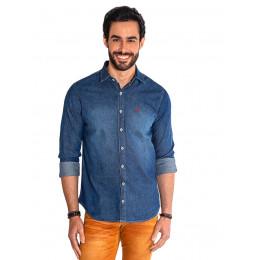 Camisa Jeans Escura Manga Longa Masculina Revanche Maseru Frente