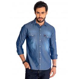 Camisa Jeans Manga Longa de Microestampa com Bolso Masculino Revanche Vienciana Padrão Frente