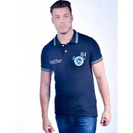 Camisa Polo Atacado com Bordado Masculino Revanche Peru Preta Frente