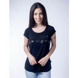 Camiseta Atacado Basica Feminino Revanche B84 Preta Frente
