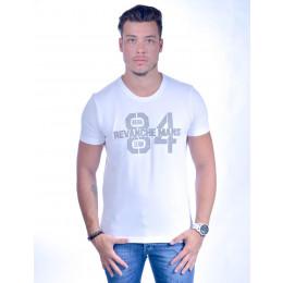Camiseta Atacado Bordada Masculina Revanche O. Denim 84 Branca Frente