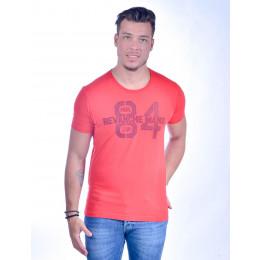 Camiseta Atacado Bordada Masculina Revanche O. Denim 84 Vermelha Frente