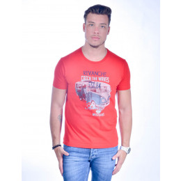 Camiseta Atacado Bordada Masculino Revanche Catch The Waves Vermelha Frente