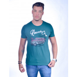 Camiseta Atacado Bordado com Estampa Masculino Revanche Old Champion Verde Frente