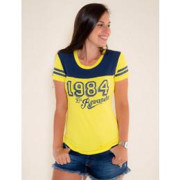 Camiseta Atacado c/ Recorte Feminino Revanche Old 1984 Preto Frente