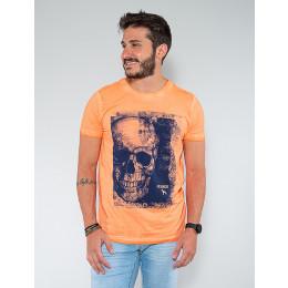 Camiseta Atacado Caveira Masculina Revanche Aristide Laranja Frente