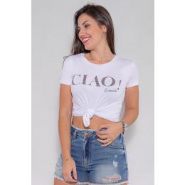 Camiseta Atacado Ciao Feminina Revanche Fifi Branco Frente