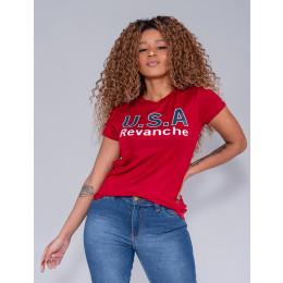 Camiseta Atacado Com Estampa Feminina Revanche Letónia Vermelho Frente
