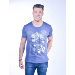 Camiseta Atacado com Estampa Masculina Revanche Mexican Indian Azul Frente