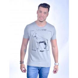 Camiseta Atacado com Estampa Masculino Revanche Hund Branca Frente