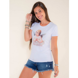 Camiseta Atacado Estampa Feminina Revanche Angel Branca Frente