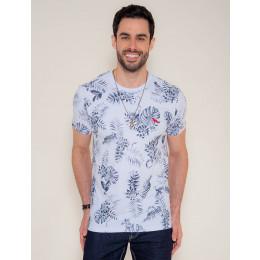 Camiseta Atacado Estampa Masculina Revanche Folhagem Branca Frente