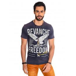 Camiseta Atacado Estampa Masculina Revanche Freedom Azul Marinho Frente
