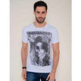Camiseta Atacado Estampa Silk Masculina Woman Zombie Rosa Claro Frente