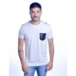 Camiseta Atacado Estampada com Bolso Masculino Revanche Milano Branco Frente