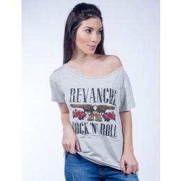 Camiseta Atacado Estampada Feminino Revanche Rock&Roll Mescla Frente