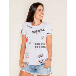 Camiseta Atacado Estampada Feminino Revanche verral Preto