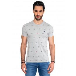 Camiseta Atacado Estampada Masculina Revanche Ancora Mescla Frente