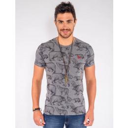 Camiseta Atacado Estampada Masculina Revanche Enciclopédia Frente Cinza