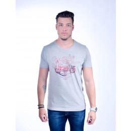 Camiseta Atacado Estampada Masculino Revanche American Class Cinza Frente