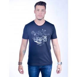 Camiseta Atacado Estampada Masculino Revanche American Class Preta Frente