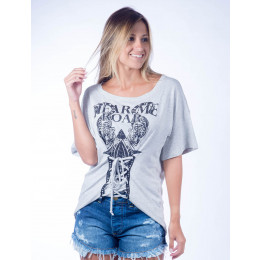 Camiseta Atacado Estampado Feminino Revanche Hear Me Roar Cinza Frente