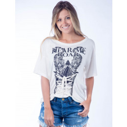 Camiseta Atacado Estampado Feminino Revanche Hear Me Roar Off-White Frente
