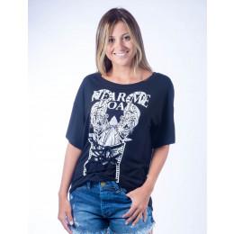 Camiseta Atacado Estampado Feminino Revanche Hear Me Roar Preta Frente