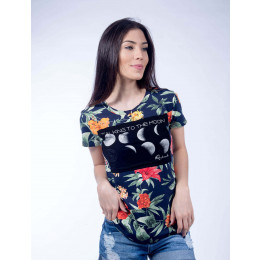 Camiseta Atacado Floral Feminino Revanche Talking To The Moon Frente