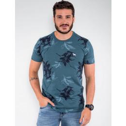 Camiseta Atacado Floral Masculina Revanche Egito Azul Turquesa Frente