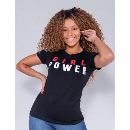 Camiseta Atacado Girl Power Feminina Revanche Therese Preto Frente