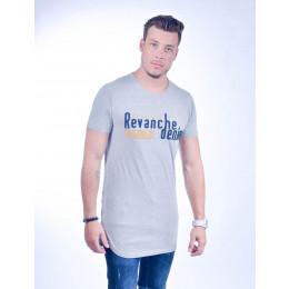 Camiseta Atacado Longline Masculino Revanche Cartum Preta Frente