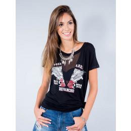 Camiseta Atacado Manga Curta Feminino Revanche Premarel Preto Frente