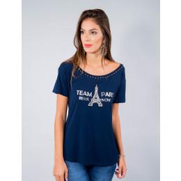 Camiseta Atacado Manga Curta Feminino Revanche Team Paris Preta Frente