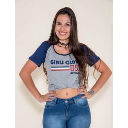 Camiseta Atacado Manga Mescla Feminina Revanche Girls Clube Branca Frente