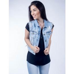 Colete Jeans Atacado Claro Feminino Revanche Luanda Frente