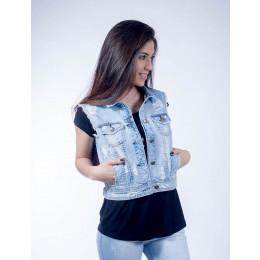 Colete Jeans Atacado Claro Feminino Revanche Luanda Frente 18e42eca85d07