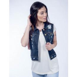 Compre Colete Jeans Atacado Destroyed Escuro Feminino Revanche Argel e aumente as vendas da sua loja. Acesse a loja online de atacado da Revanche Jeans Frente