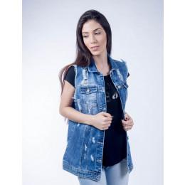 Colete Jeans Atacado Maxi Feminino Revanche Erevã Frente