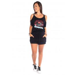 Conjunto Atacado Blusa + Shorts Feminino Revanche M Springs Preto Frente